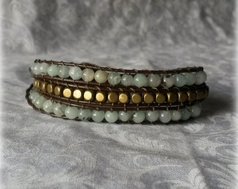 Green and Gold Leather Wrap Bracelet with Green Quartz, Gold metal beads and Brown Leather