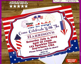 4th of July, Fourth of July Party Invitation Printable Digital File