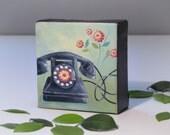 Mini Vintage Phone Painting - Office Decor - Original Art - 4x4 Oil Painting