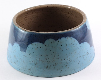 30 oz. Stoneware Dog Bowl / Handthrown with Blue Clouds