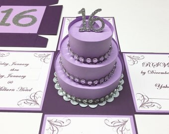Sweet 16 Invitations Sweet 16 Exploding Box Exploding Boxes Sweet 16 Party Sweet 16 Invitations Purple Invitation 75 Included