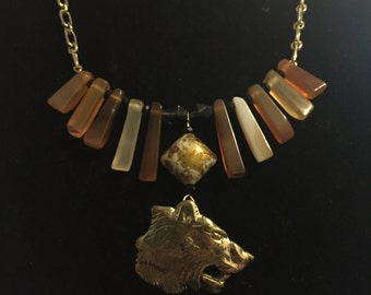 Tribal Glam Bear Necklace