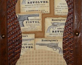 Gun Print Burp Cloth, pistol, Remington, Army, Navy, guns, cowboy, revolver, western, boy, baby,
