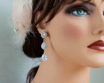 Long teardrop earrings silver crystal teardrop wedding jewelry silver long dangle earrings long silver dangle bridal earrings teardrop