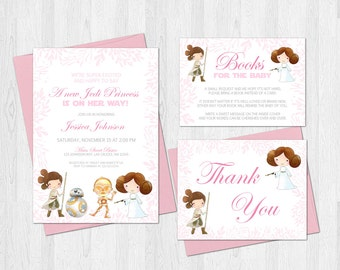 Star Wars Baby Shower Invitation Set Jedi Princess Thank You Card and Book Request Card Princess Leia and Rey Digital or Prints