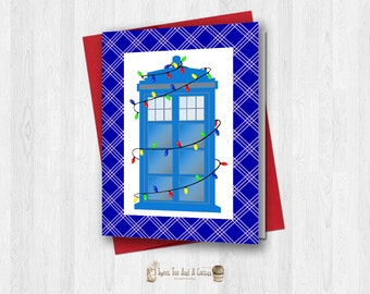 Doctor Who Christmas Holiday Greeting Card Printable Sci-fi Geek Nerd Digital File Tardis Seasonal Download Unique Lights