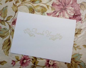 Set of 25 Thank You Cards with Gold Ink