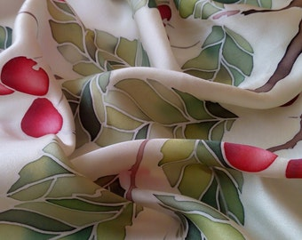 Designer silk scarf red cherries , red silk scarves, gift for women , handpainted, birthday gift, silk scarf square, gift for mother