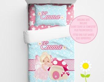 Personalized Fairy Bedding Set - Fairy Duvet Cover or Comforter - Personalized Duvet Set for Girls - Custom Kids' Fairy Toadstool Comforter