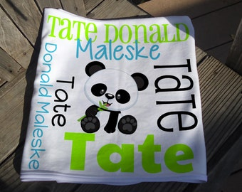 Personalized Baby Blanket - Panda Receiving Blanket - Custom Panda Baby Blanket - Newborn Swaddling Blanket - Panda Bear Baby Photo Prop