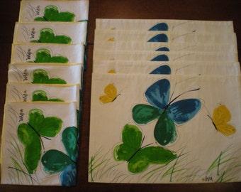 Vintage Vera Neumann Flights of Fancy Linen Placemats and Napkins Set of 6 each Signed Ladybug