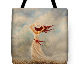 cloud tote bag, dancer tote,  beach bag, original painting by Nancy Quiaoit