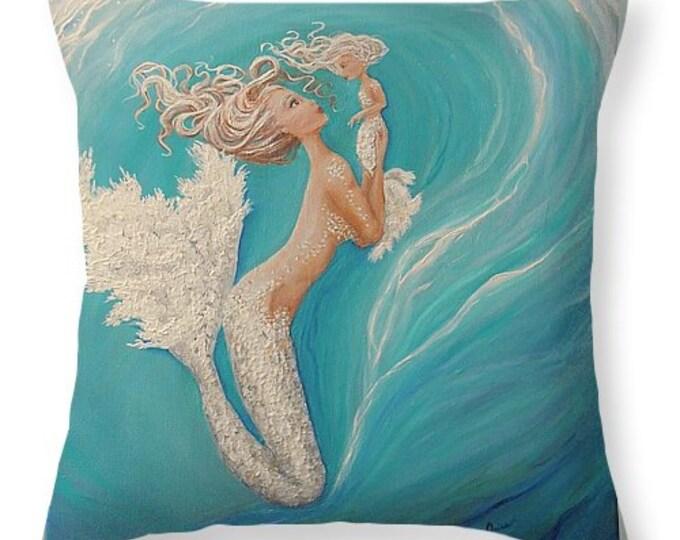 Mermaid throw pillow,  teal blue mermaid pillow, original painting by Nancy Quiaoit at Nancys Fine Art