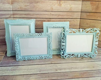 ornate frames set of 4 aqua vintage up cycled eco friendly ready to ship
