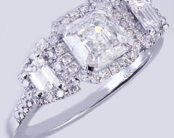18k white gold asscher cut diamond engagement ring Halo 2.50ctw H-VS2 GIA