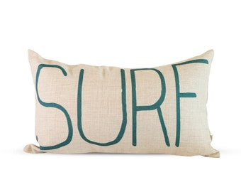 12x20in Surf Lettering In Natural Burlap Style Linen Lumbar Pillow Cover
