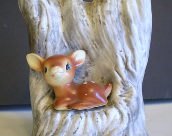 Vintage Enesco Imports Planter Vase Deer Doe 50's 60's Pottery Japan