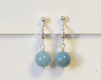 Sterling Silver Clip on Aquamarine Earrings, Serenity Blue earrings, Gemstone Clip on Earrings, Gift for her, March birthstone earrings