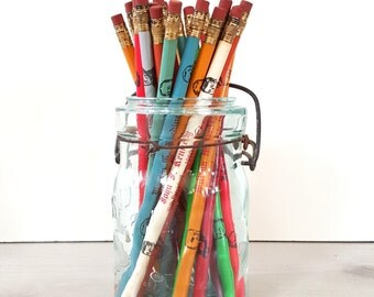 Vintage Presidential Collectible Pencils In Teal Mason Jar ~ Teacher Gift / Office Gift / Desk Decor