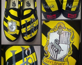 Custom painted Hufflepuff Vans. Designed and personalized just for you!