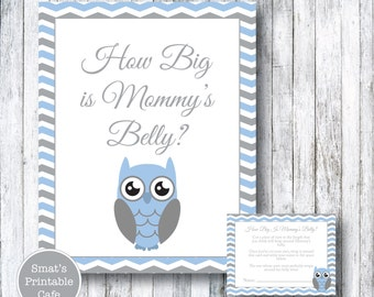 Blue Owl Baby Shower How Big Is Mommy's Belly Game - PRINTABLE Chevron Theme - Boy - Instant Download - Baby Shower Games - Gray Grey