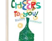 Champagne Cheers Birthday / Birthday Card / Celebration Card (Style #637)
