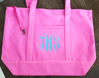 Monogram Large Beach Bag - Weekend Bag - Bridesmaids Gift