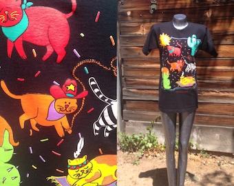 Sale* 90's Vintage Santa Fe Souvenir Cat Themed Cattin Around T-shirt Black with Colorful Graphic Size Medium Ladies Southwestern