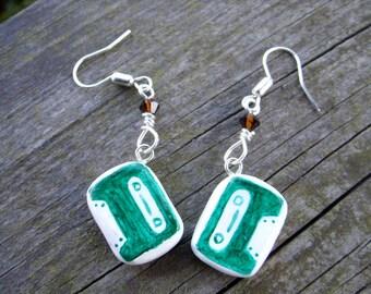 retro cassette clay earrings emerald green white brown swarovski 80s jewelry cassette tape 1980s style