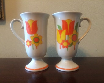 1970s Pair Retro Yellow Orange Flower Pedestal Coffee Mugs