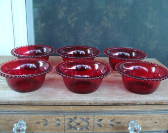 Vintage Red Candlewick Art Glass Cereal Salad Bowl Set Of Six Bowls Antique Imperial Glass Or Imperial Glass Type