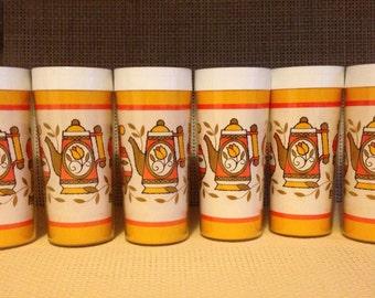 6 Vintage Retro West Bend Thermo Serv Plastic 12 Oz.Tumblers Orange Yellow Brown