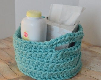 Aqua Crochet Storage Basket, Nursery Decor