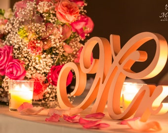 Beautiful Mr & Mrs signs for a sweetheart table - Wedding decoration. Anniversary, engagement. Available DIY, painted, glittered.