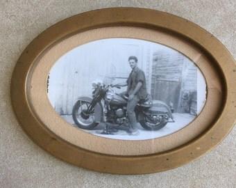 Vintage Photo of Handsome Man on Motorcycle Framed