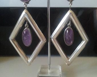 Vintage Sterling Silver Amethyst Modernist Earrings - **HUGE**