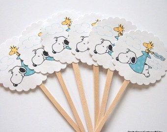 Snoopy Baby Shower, Cupcake Toppers, Baby Boy Blue, Baby Girl Pink, Gender Neutral, Green, Woodstock, Stork, Choose Quantity