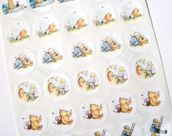 Winnie the Pooh, Sticker Sheet, Baby Shower, Birthday Party, Favor Bag Stickers, Jar Labels, 30 Stickers, Medium, 1.5 Inches