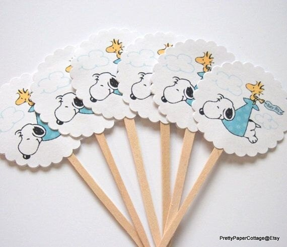 snoopy baby shower cupcake toppers baby boy blue baby girl pink