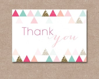 Modern Bridal/Baby Shower Thank you Card (Flat or Fold)