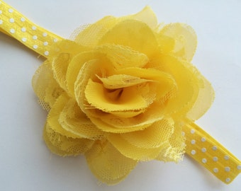 Spring Headband-Yellow Headband -Yellow Flower Headband for Girls-Summer Headband -Large Flower Elastic Headband -Floral Headband Photo Prop