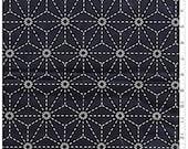 Japanese Sewing Quilting  Fabric - Sashiko Pre-printed Yardage - Asanoha  - Dark Navy/ Indigo - Sold by the Half Yard