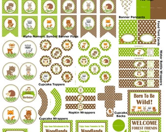 Woodland Birthday Party, Woodland Party Supplies, Woodland Party Printables, Woodland Decorations, Fox Party, Deer Party - Printables 4 Less