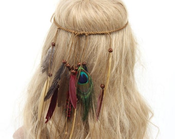 Boho Hippy Women Indian Feather Headband Hairband Headdress Hair Accessories.
