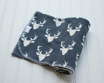Knit Swaddle Receiving Blanket: Navy with Cream Deer Blanket