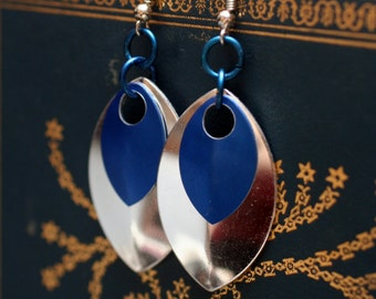 Blue and Silver Scalemaille Earrings