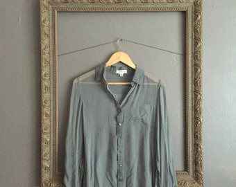 sheer gray long sleeved button down