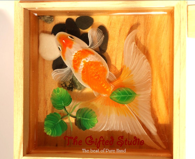 Resin painting 3d orange and white koi fish paintings for Resin koi fish