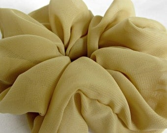 Big Scrunchies for Thick Hair in Camel Chiffon are Lovely Gifts for Her