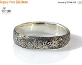 Rustic Silver wedding band, guys silver ring, oxidized silver wedding band, unisex design, mens silver band, hammered band recycled silver